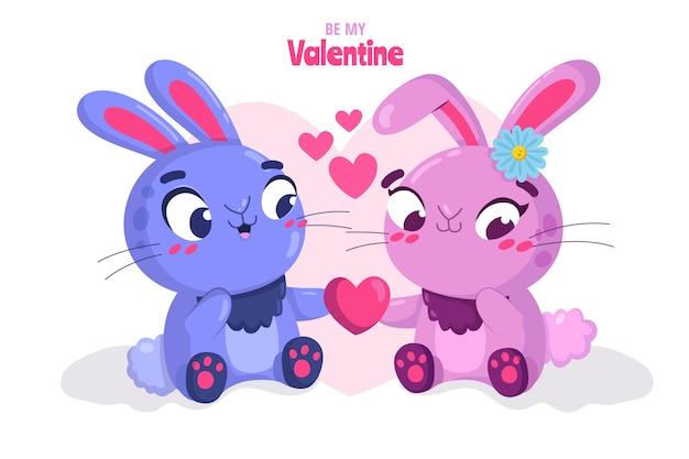 Leuk valentijnsdag konijntjespaar Gratis Vector