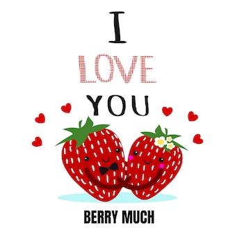 Leuk valentijnskaart stawberry paar