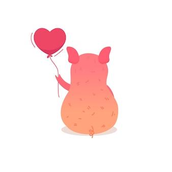 Leuk varken met een ballon zit