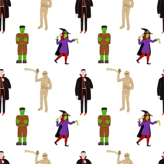 Leuk vector naadloos patroon voor halloween met helden in kostuums. heks, graaf dracula, mummie, frankenstein.