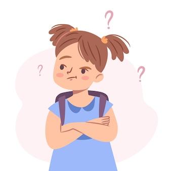 Leuk verward meisje verbaasd geïsoleerd meisje dat twijfelt en aan dilemma denkt Premium Vector