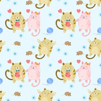 Leuk vet kat en rat naadloos patroon.