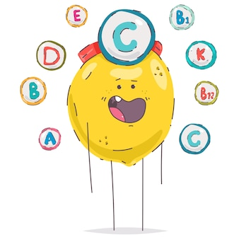 Leuk vitamine c-citroenkarakter dat op een witte achtergrond wordt geïsoleerd.
