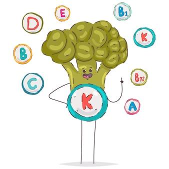 Leuk vitamine k-broccolikarakter dat op een witte achtergrond wordt geïsoleerd.