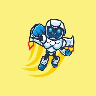 Leuk vliegende robot cartoon mascotte ontwerp