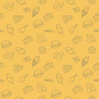 Leuk voedselpatroonontwerp op gele achtergrond