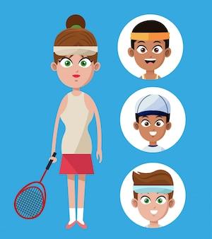 Leuk vrouwenspeltennis met racketgroepspelers