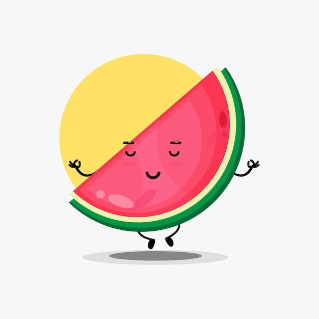 Leuk watermeloenkarakter dat mediteert in yogahouding
