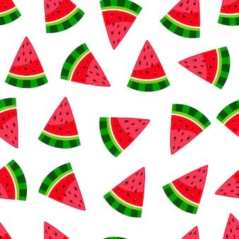 Leuk watermeloenpatroon. naadloze achtergrond van plakjes rijpe watermeloen