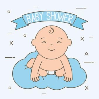 Leuk weinig babyjongen die in wolk drijft