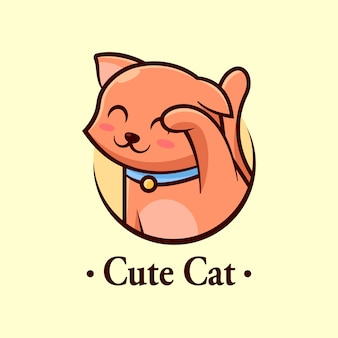 Leuk weinig bruin katten glimlachend cartoonembleem