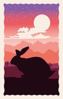 Leuk wild konijn dierlijk silhouet met landschapsscène