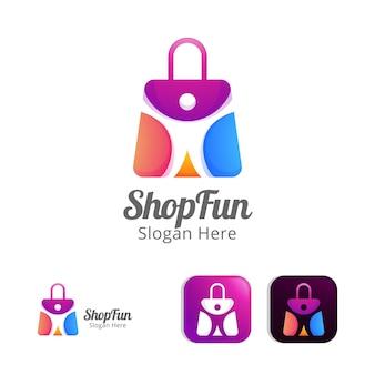 Leuk winkelen moderne logo ontwerpsjabloon