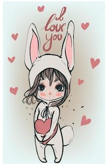 Leuk wit konijntjesmeisje met hart - vectorillustratie