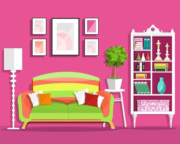 Leuk woonkamerinterieur met bank, bloempot, boekenkast, lamp.