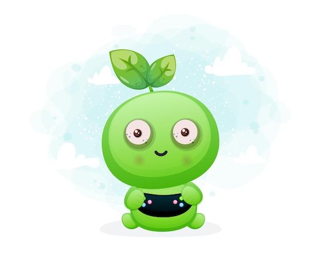 Leuk zaadkarakter dat spelletjes speelt. alien mascotte karakter premium vector