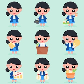 Leuk zakenvrouwkarakter met kantoorelementen in setbundel