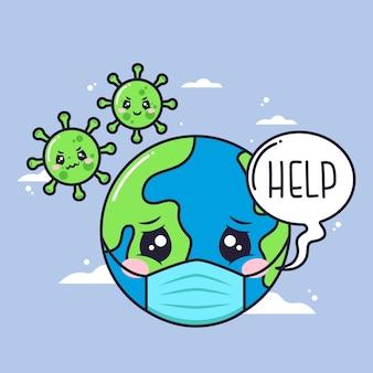 Leuk ziek planeetkarakter met aanvallend virus