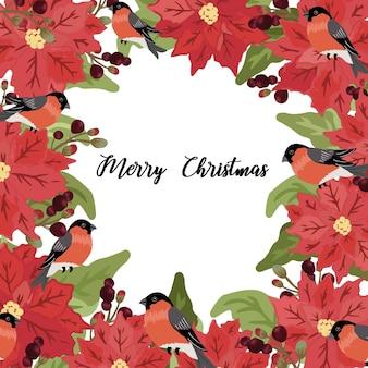 Leuk zoemende vogel en kerstmisbloemframe.