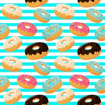Leuk zoet donuts naadloos patroon. zomerse desserts