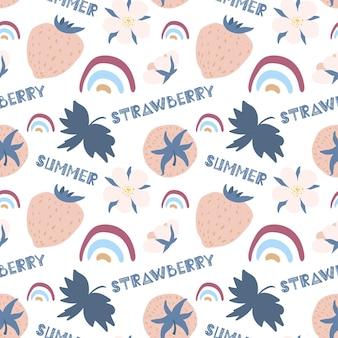 Leuk zomerpatroon aardbeien scandinavische regenbogen handgetekende letters