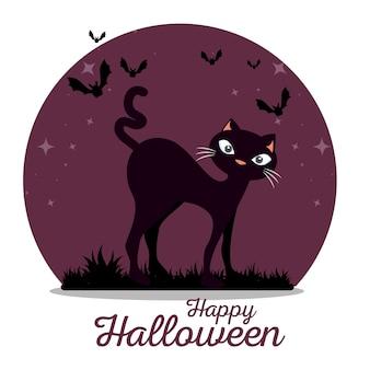 Leuk zwart katten gelukkig halloween