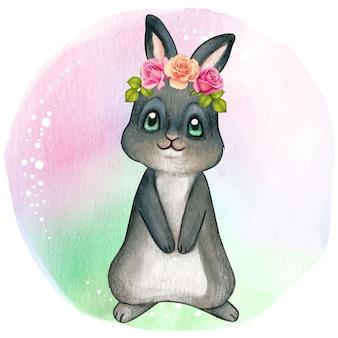 Leuk zwart konijntje met rozen op kop