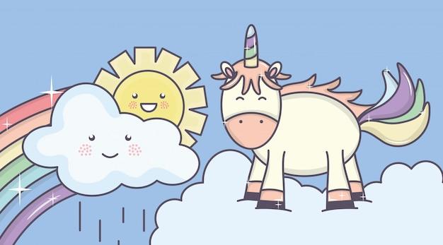 Leuke aanbiddelijke eenhoorn met zonnige wolken en regenboog