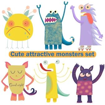 Leuke aantrekkelijke monsters ingesteld voor printontwerp. symbool collectie. leuke monstercollectie. gelukkige kinderen cartoon collectie. mensen icon set. handtekening. grappig stripfiguur. witte achtergrond