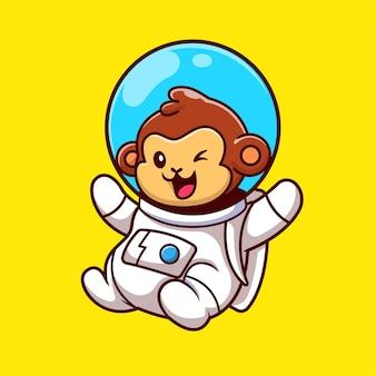 Leuke aap astronaut drijvende cartoon vector icon illustratie. dierlijke technologie pictogram concept geïsoleerd premium vector. platte cartoonstijl