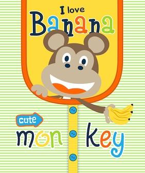 Leuke aap cartoon met banaan op kleding patroon