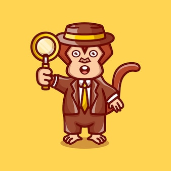 Leuke aap-detective met een vergrootglas
