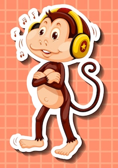 Leuke aap die aan muziek op hoofdtelefoon luistert
