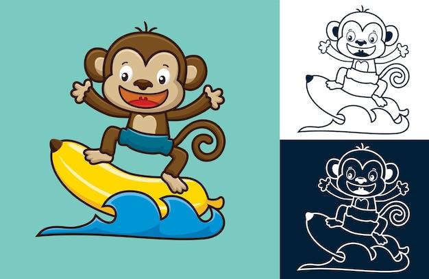 Leuke aap die in water met grote banaan surft. cartoon afbeelding in platte pictogramstijl