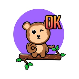 Leuke aap emoticon cartoon mascotte