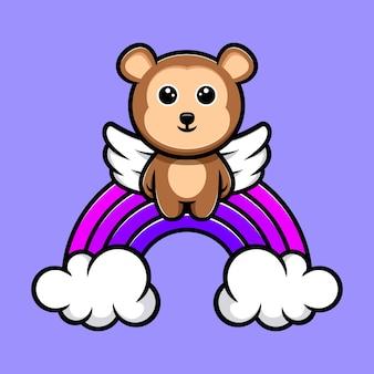 Leuke aap engel drijvend met regenboog cartoon mascotte