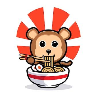 Leuke aap eten ramen noodle cartoon mascotte