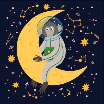 Leuke aap in de ruimte. aap in de kosmos omringd door sterren.