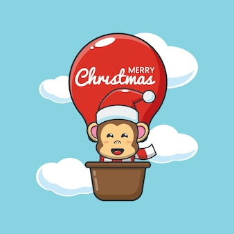 Leuke aap in luchtballon leuke kerst cartoon afbeelding