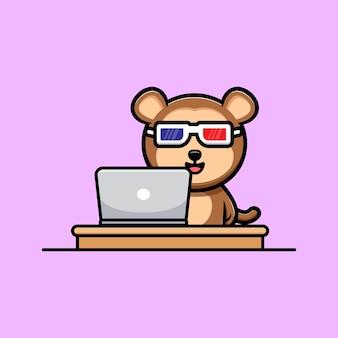 Leuke aap kijken naar film op laptop cartoon mascotte