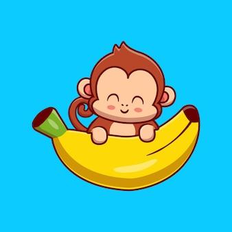 Leuke aap met banaan cartoon vectorillustratie pictogram. dierlijk voedsel pictogram concept geïsoleerd premium vector. platte cartoonstijl