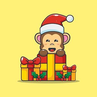 Leuke aap met kerstcadeau leuke kerst cartoon illustratie