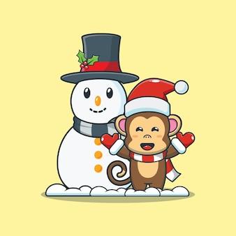 Leuke aap met sneeuwpop leuke kerst cartoon afbeelding