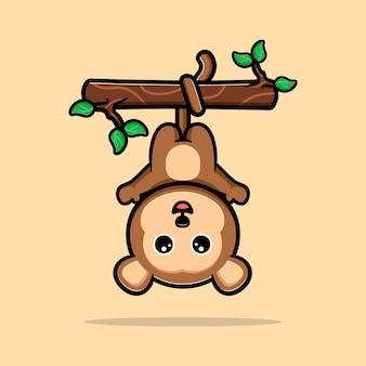 Leuke aap opknoping op boom en zwaaiende hand cartoon mascotte