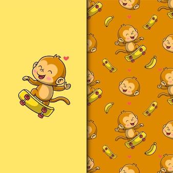 Leuke aap spelen skateboard. naadloze patroon.