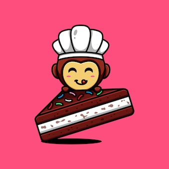 Leuke aapkarakterontwerp heerlijke chocoladeroomtaart als thema