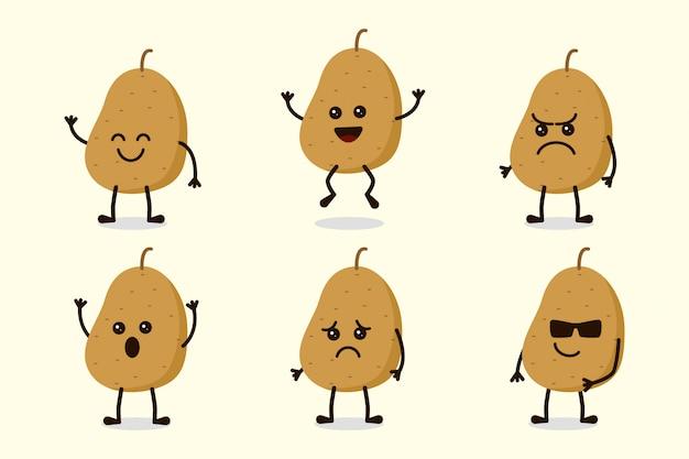 Leuke aardappel plantaardige karakter geïsoleerd in meerdere uitdrukkingen
