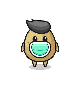 Leuke aardappelcartoon met een masker, schattig stijlontwerp voor t-shirt, sticker, logo-element