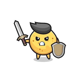Leuke aardappelchipsoldaat die vecht met zwaard en schild, schattig ontwerp