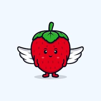 Leuke aardbei engel karakter platte pictogram illustratie